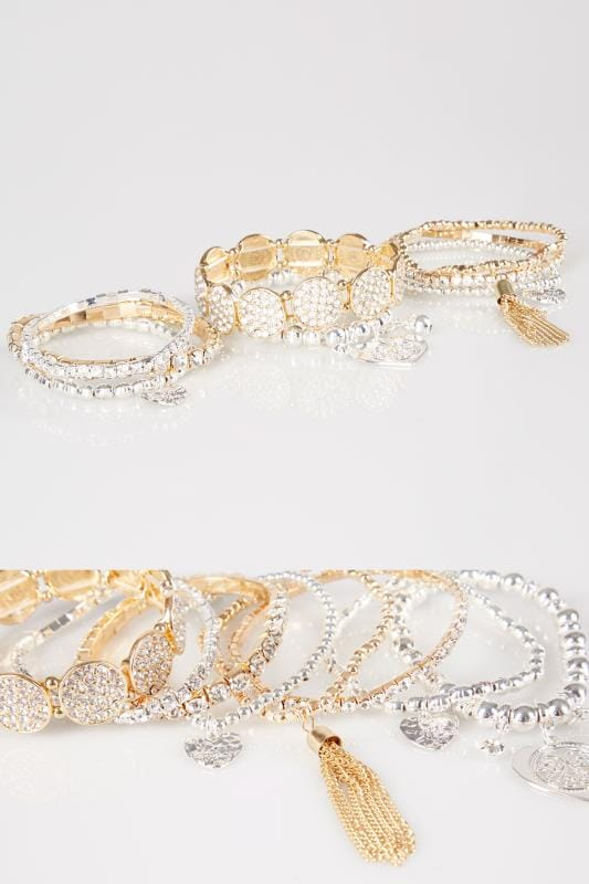Plus Size Jewellery Gold & Silver Assorted Stretch Bracelets With Diamante Details