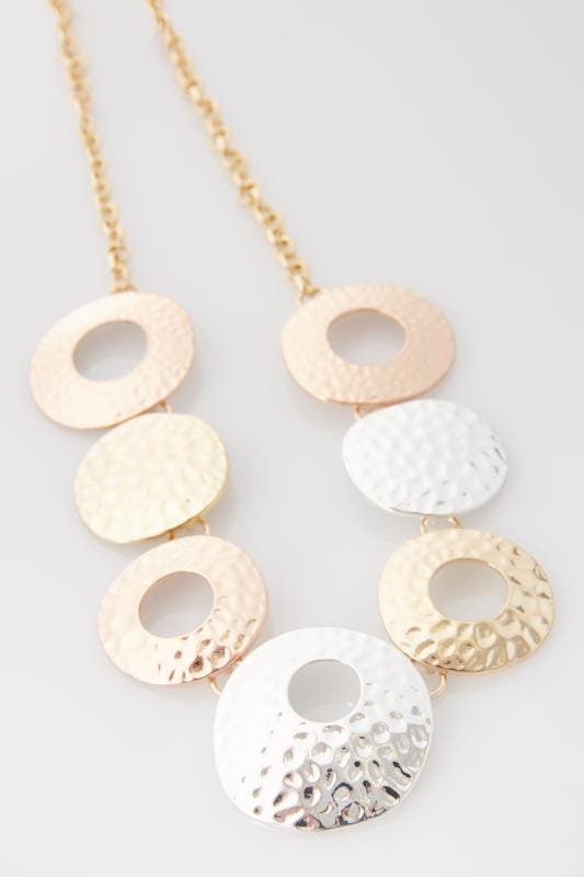 Gold & Silver Hammered Metal Circle Necklace