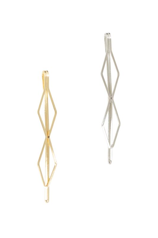 Plus Size Hair Accessories 2 PACK Gold & Silver Hexagonal Hair Slides