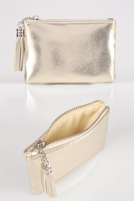 Bags & Purses Gold Small Zip Purse With Tassel Charm 152456