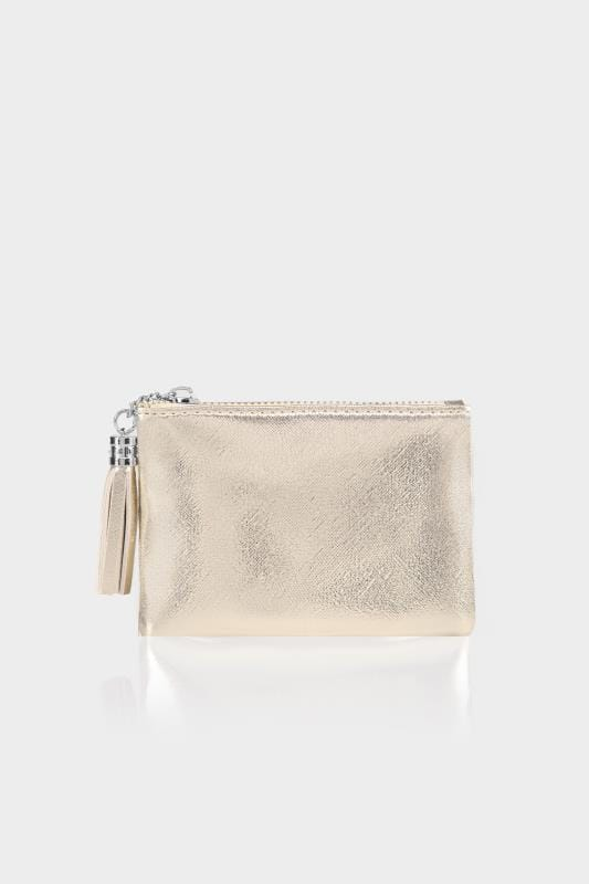 Gold Small Zip Purse With Tassel Charm