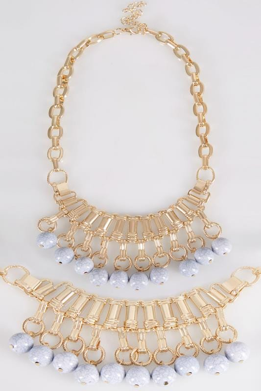 Gold Statement Necklace With Marble Bead Embellishment