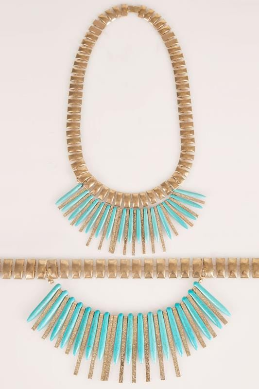Gold Statement Necklace With Removable Turquoise Stone Spike
