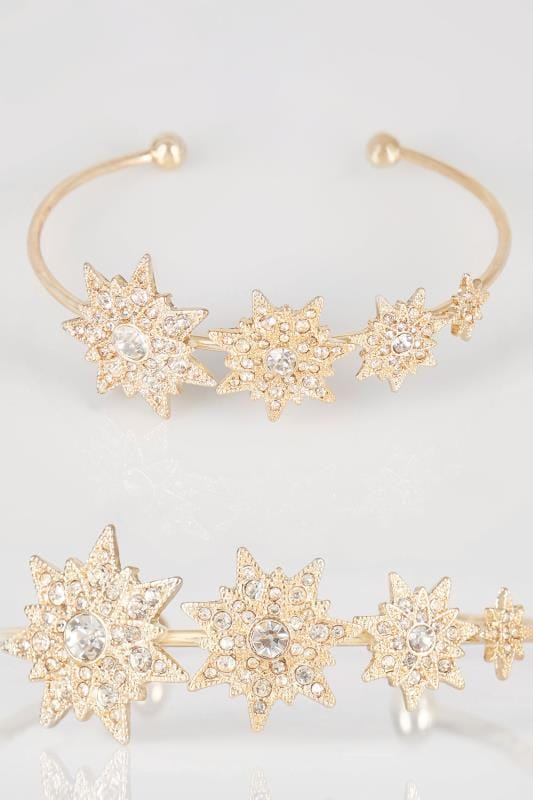 Plus Size Bracelets Gold Diamante Star Bangle