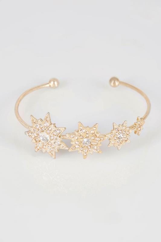 Gold Tone Diamante Star Charm Bangle