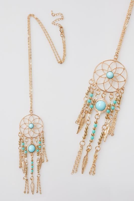 Jewellery Gold & Turquoise Dreamcatcher Necklace 101354