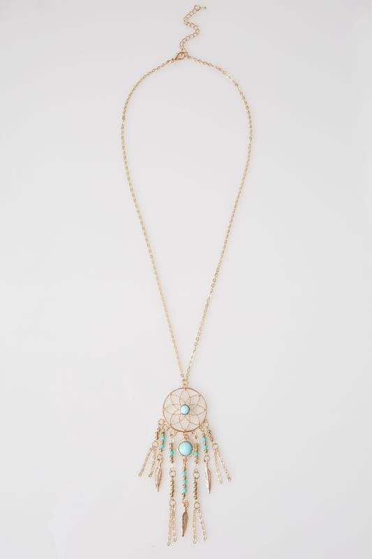 Gold & Turquoise Dreamcatcher Necklace