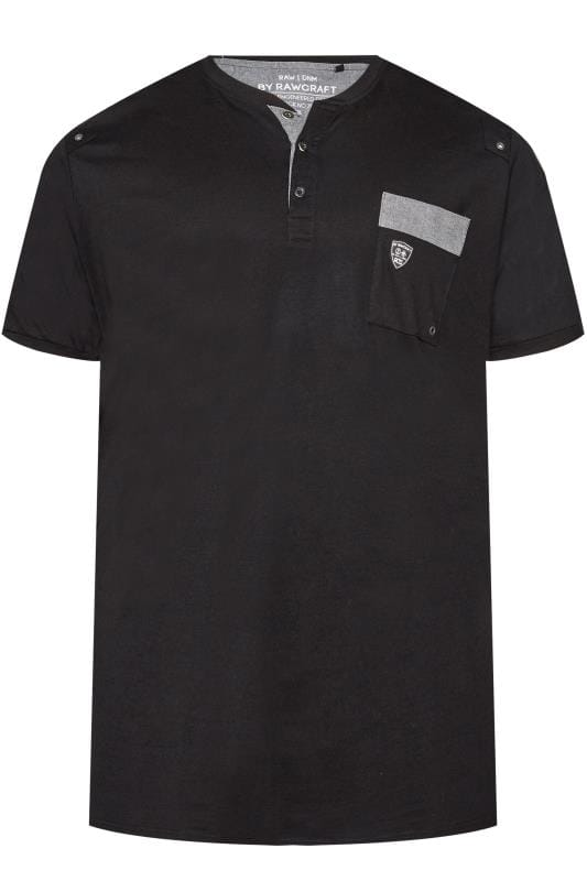 RAWCRAFT Black Notch Neck T-Shirt