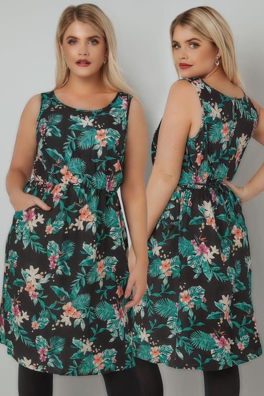 Skater Dresses Green & Black Floral Print Pocket Dress With Elasticated Waist 170340