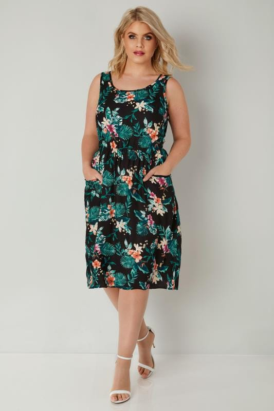 Green & Black Floral Print Pocket Dress With Elasticated Waist