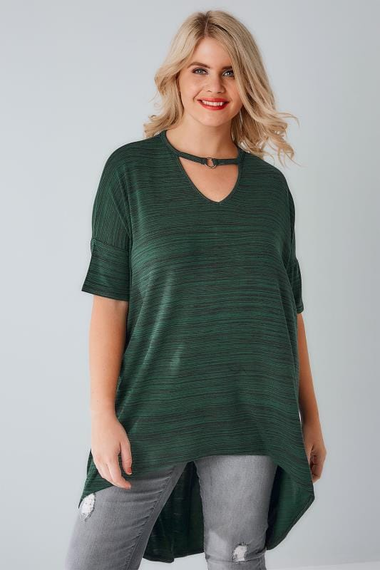 Green & Black Textured Choker Neck Ring Detail Top With Extreme Dipped Hem
