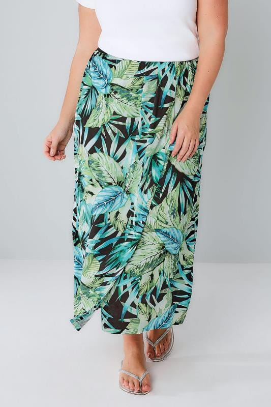 Green & Black Palm Leaf Print Wrap Midi Skirt