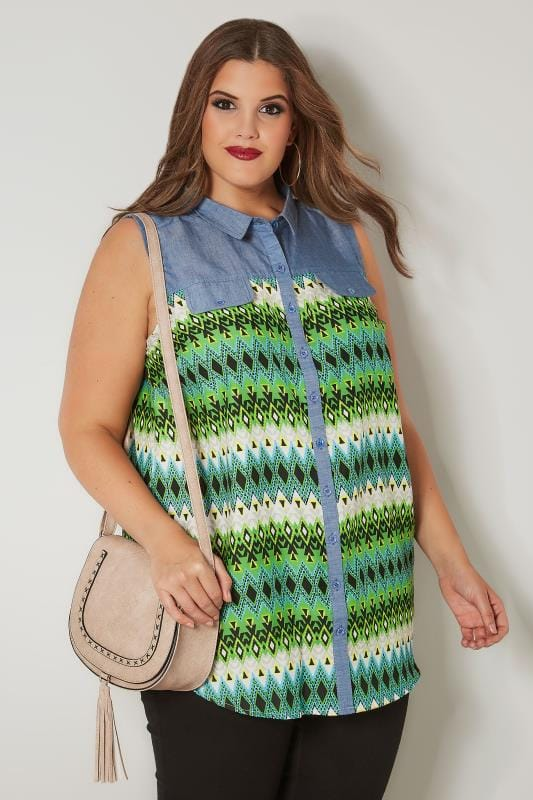 Green & Blue Aztec Print Chambray Shirt