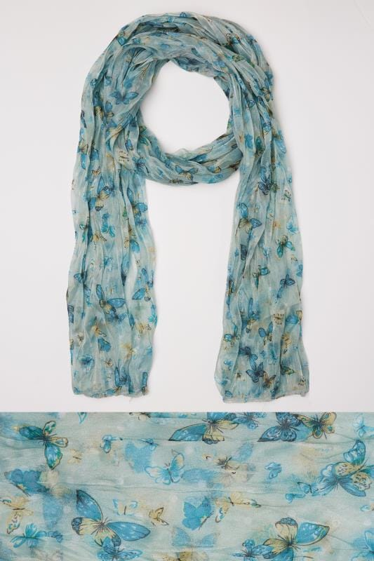 Plus Size Scarves Green & Blue Butterfly Print Crinkled Scarf