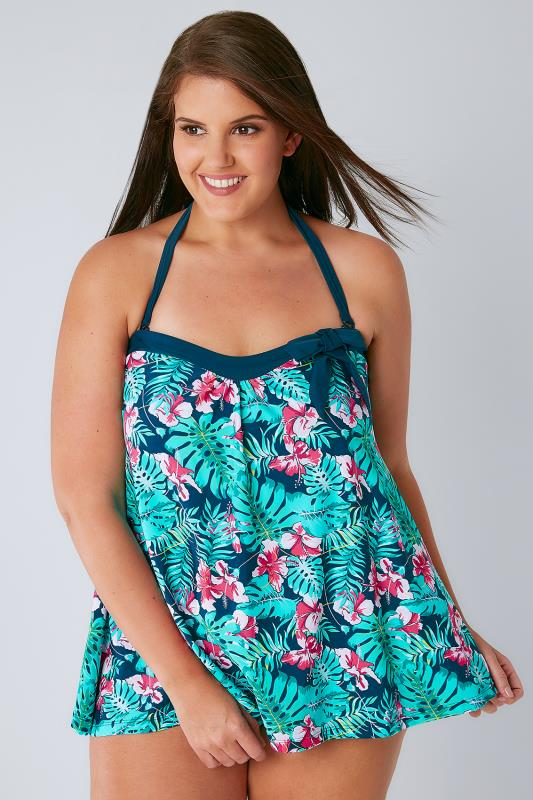 Green & Blue Tropical Orchard A Line Tankini Top