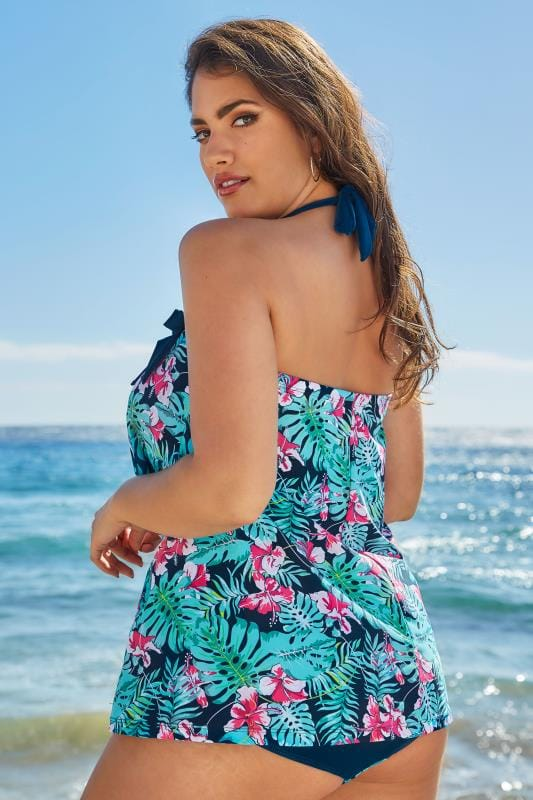 Green & Blue Tropical Orchard A-Line Tankini Top