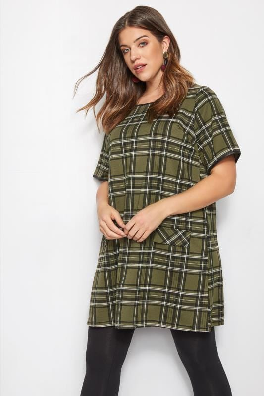 Plus Size Sleeved Dresses Green Check Tunic Dress
