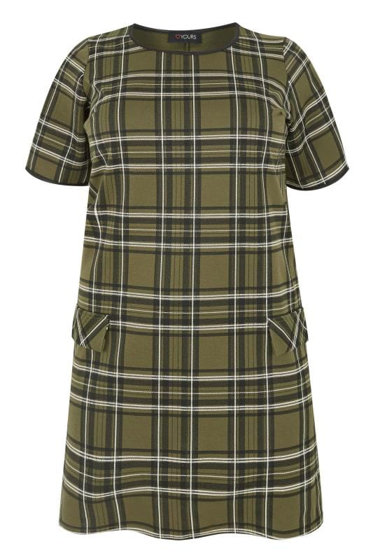 Green Check Tunic Dress Plus Size 16 To 40