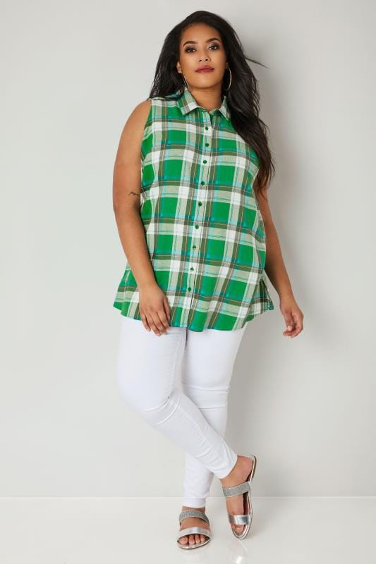 Green Woven Checked Sleeveless Shirt