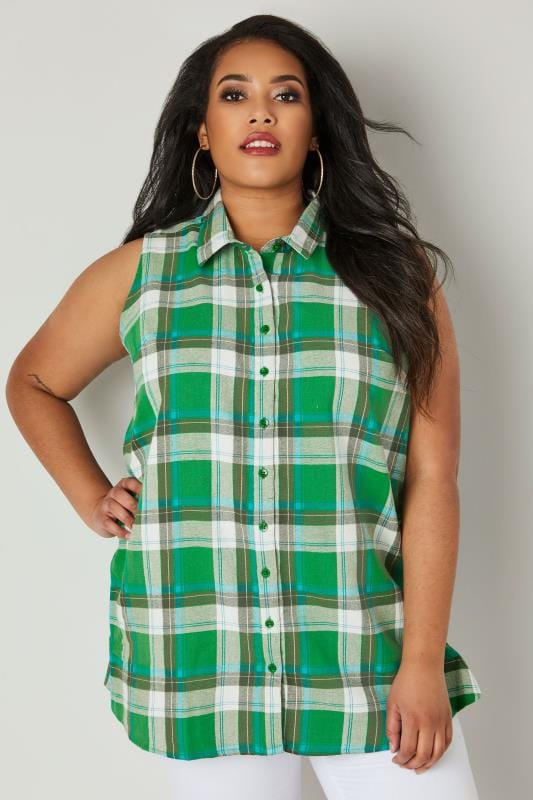 Plus Size Shirts Green Woven Check Sleeveless Shirt