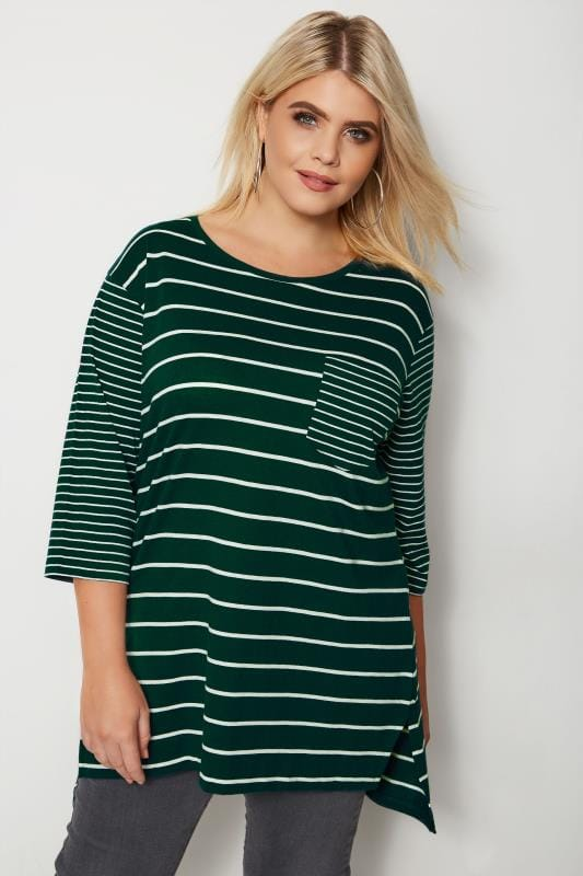Plus Size Day Tops Green Contrast Stripe Pocket T-Shirt