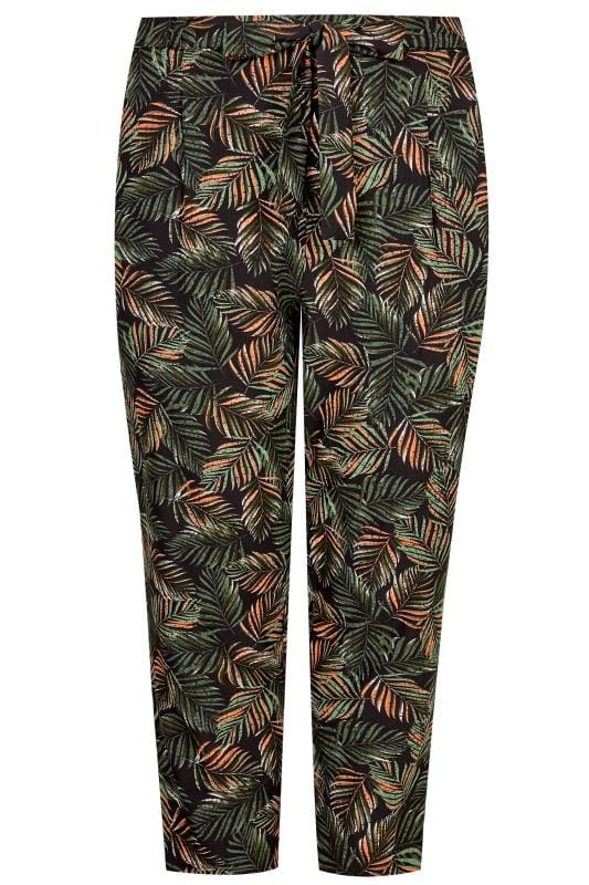 Plus Size Cropped Trousers Green Leaf Tapered Trousers