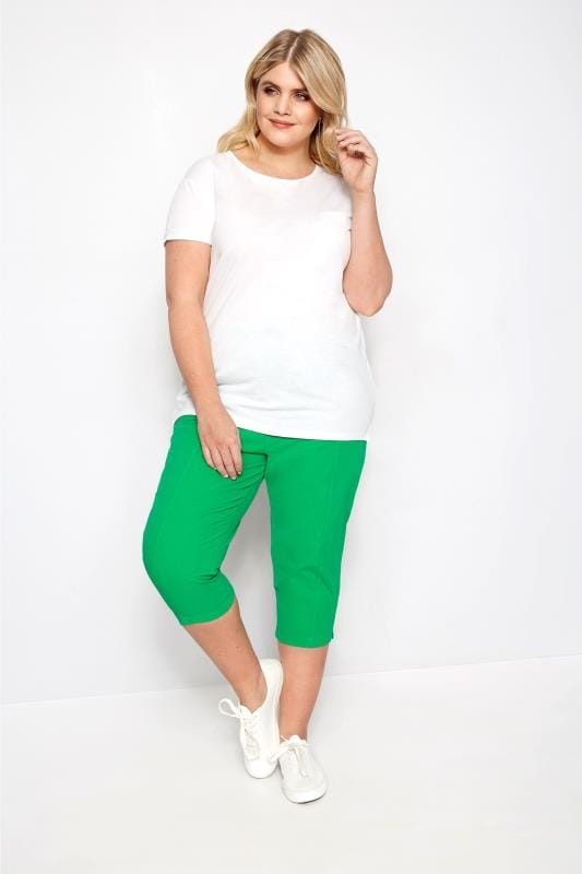 Green Cotton Cropped Trousers