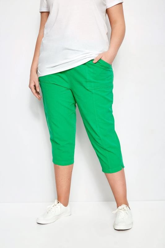 Plus Size Cropped Trousers Green Cotton Cropped Trousers