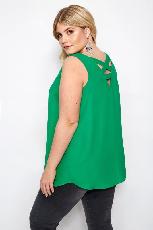 Plus Size Vests & Camis Green Cross Back Cami