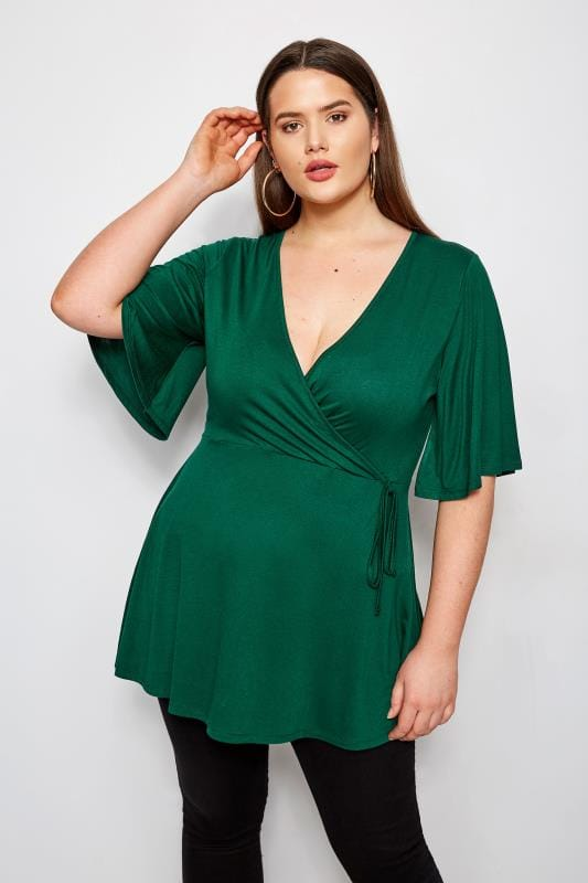 Plus Size Smart Jersey Tops Green Kimono Wrap Top