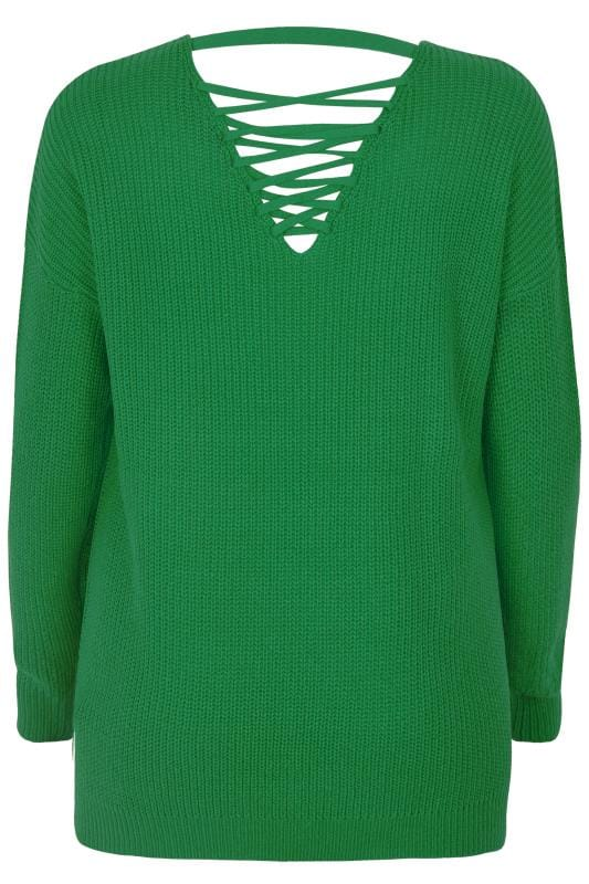 Green Lattice Back Knitted Jumper