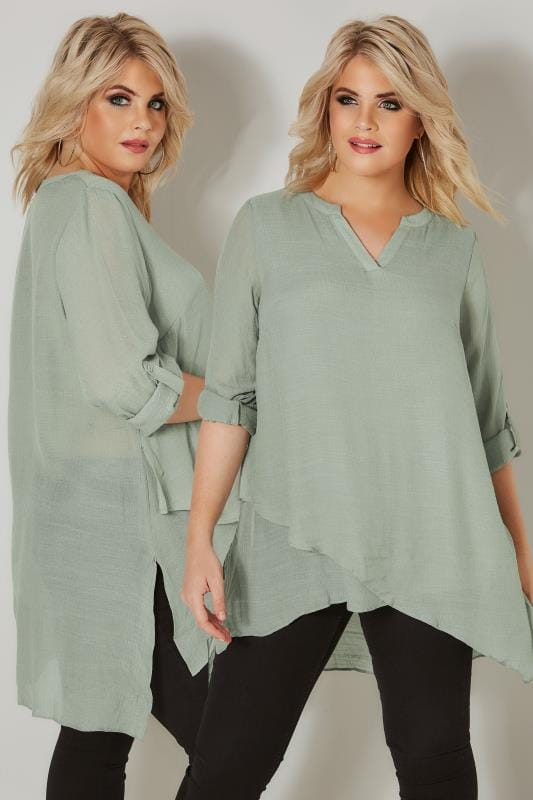 Plus Size Blouses Green Layered Blouse With Notch Neck & Dipped Hem