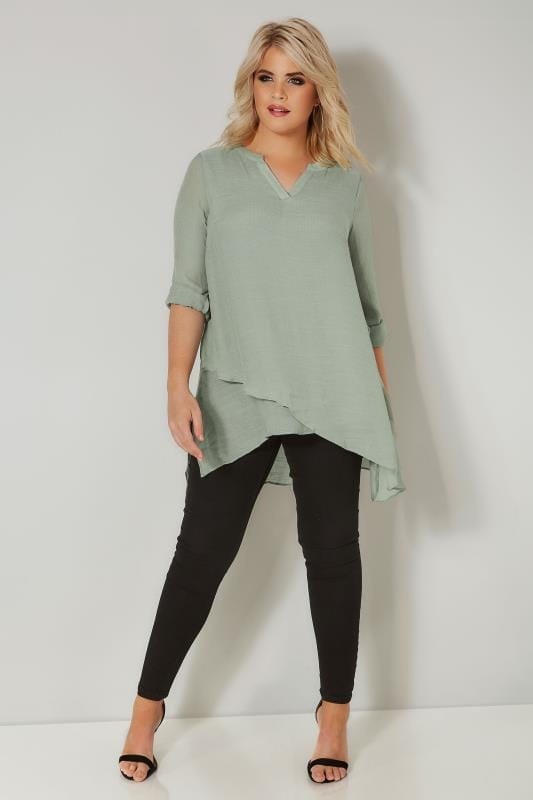 Green Layered Blouse With Notch Neck