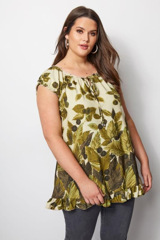 Plus Size Day Tops Green Leaf Print Gypsy Top