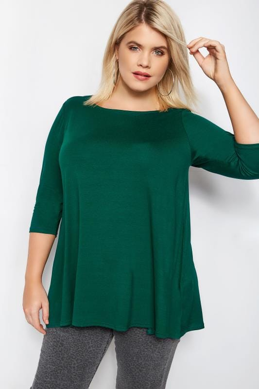 Plus Size Jersey Tops Green Longline Top With Envelope Neckline