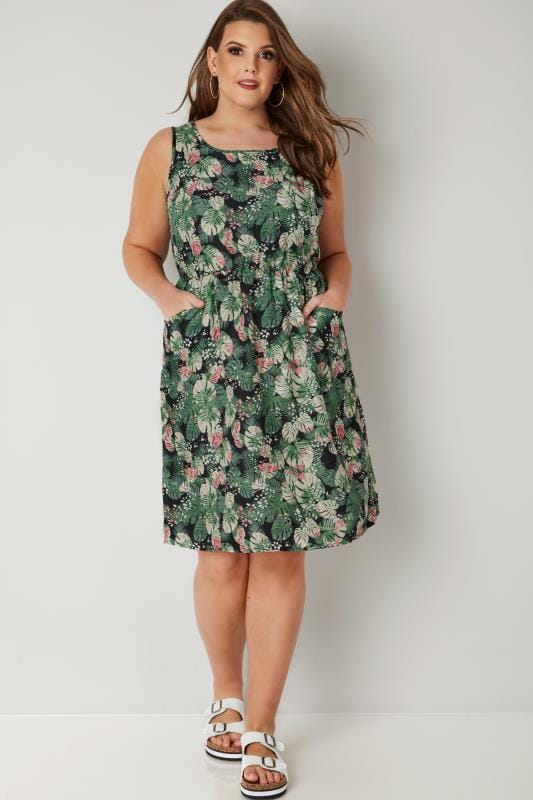 Green & Multi Leaf Print Pocket Dress With Elasticated Waist