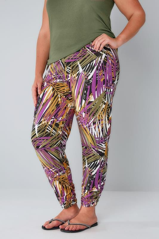 Green & Multi Palm Print Harem Trousers