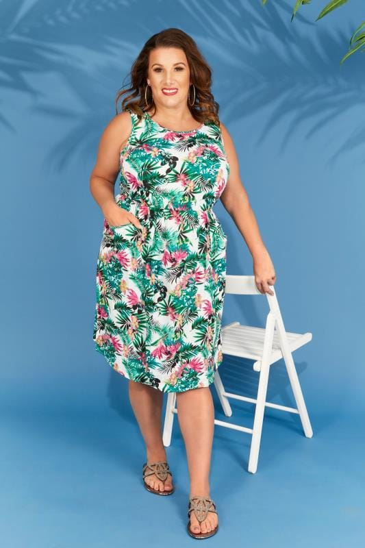 Plus Size Skater Dresses Green & Multi Tropical Floral Print Pocket Dress With Elasticated Waist