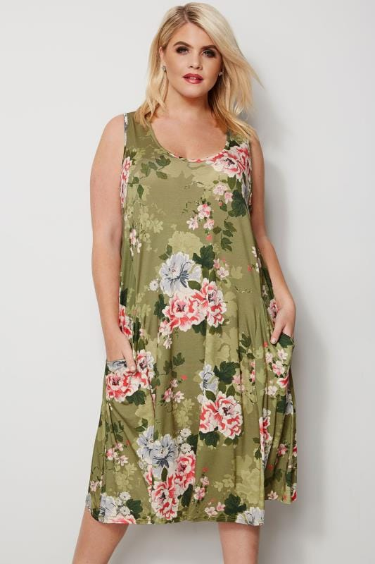 Green & Pink Floral Drape Pocket Dress