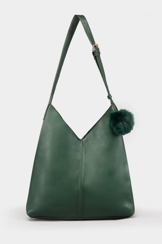 Green Pom-Pom Bag With Cosmetics Case