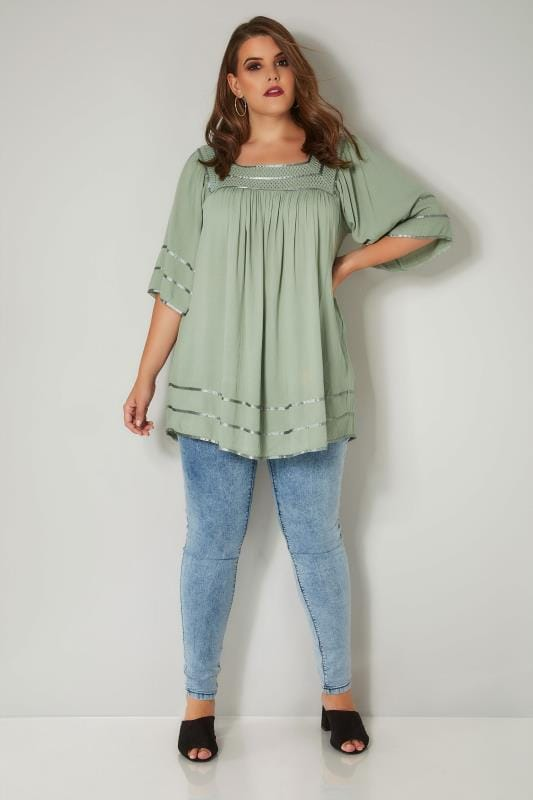 Green Tipped Blouse With Crochet Neckline
