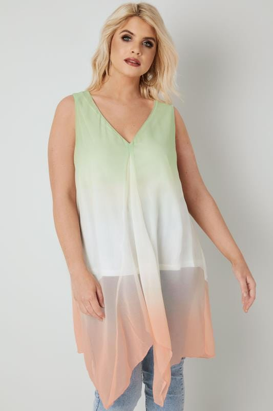 Green, White & Orange Woven Sleeveless Top With Hanky Hem