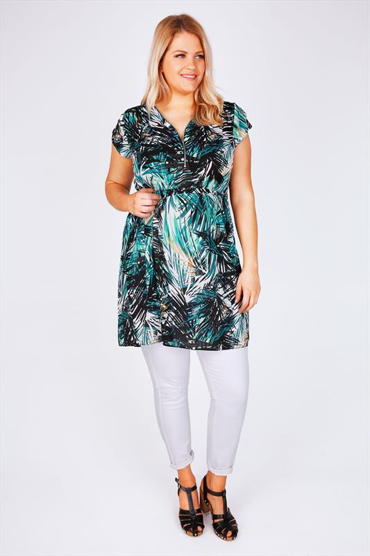 Green & White Palm Print Zip Front Tunic Dress With Tie Waist