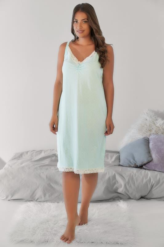 Nightdresses & Chemises Green & White Polka Dot Chemise With Lace Trim 148028