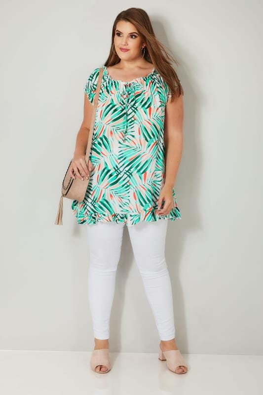 Green & White Tropical Palm Leaf Print Gypsy Top
