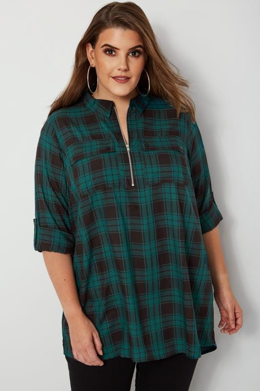 Plus Size Shirts Green Zip Through Check Shirt