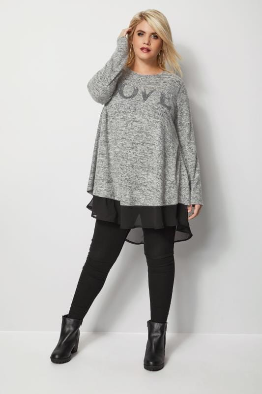 Plus Size Jumpers Grey 2 In 1 Sequin Knit Jumper & Chiffon Top