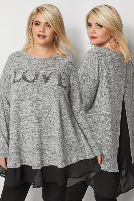 Grey 2 In 1 Sequin Knit Jumper & Chiffon Top