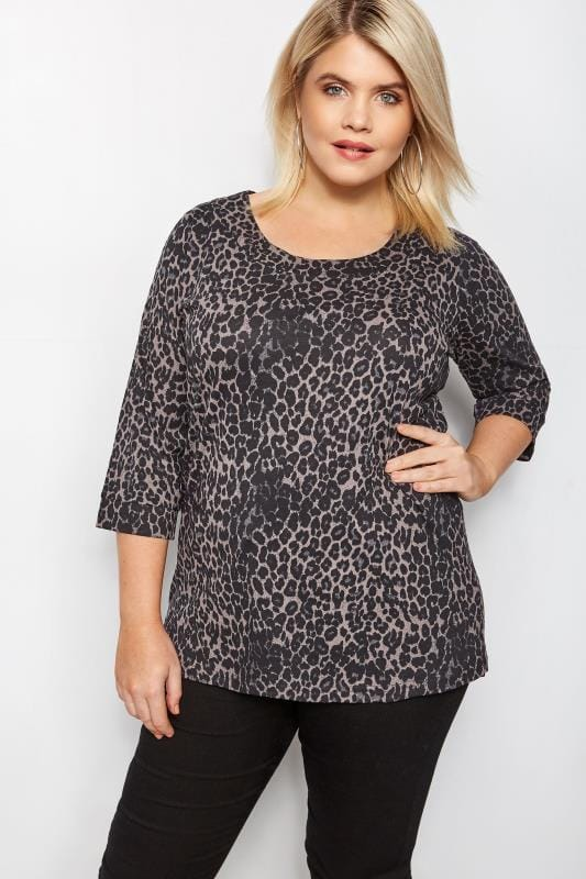 Grey Animal Print Seamed Scoop Neck Top