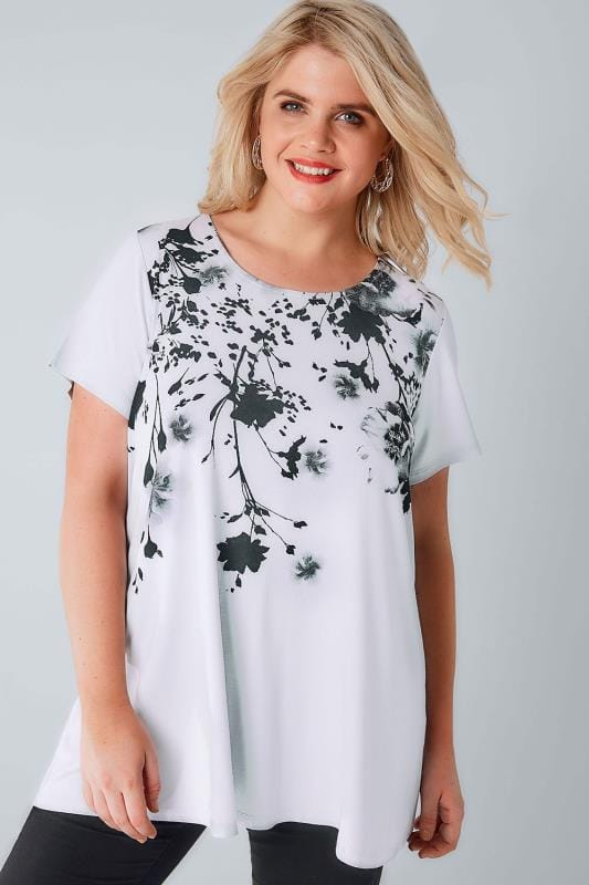 Grey & Black Blurred Floral Print Top